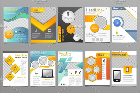 Cover design vector annual report template of brochure for business presentation covering reporting annualy illustration set isolated on white background in Illustrations