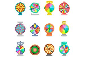 Fortune wheel vector spin game icons casino roulette with arrow lucky winner or bankrupt in fortunate wheeled lottery bet set illustration isolated on white background