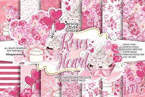 Roses Heart digital paper pack