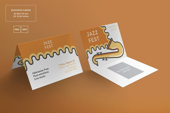 Business cards jazz festival business card templates creative business cards jazz festival business card templates creative market reheart Image collections
