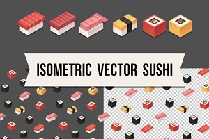 Isometric vector sushi + pattern