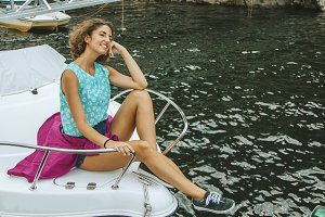 girl on the yacht sun in summer, holiday