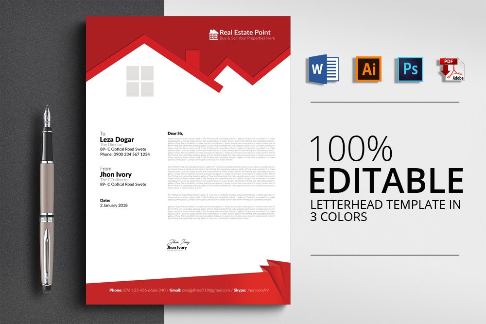 Real Estate Letterhead Template Stationery Templates