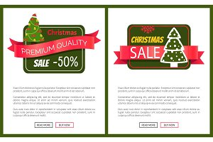 Two Best Christmas Sale Cards Vector Illustration