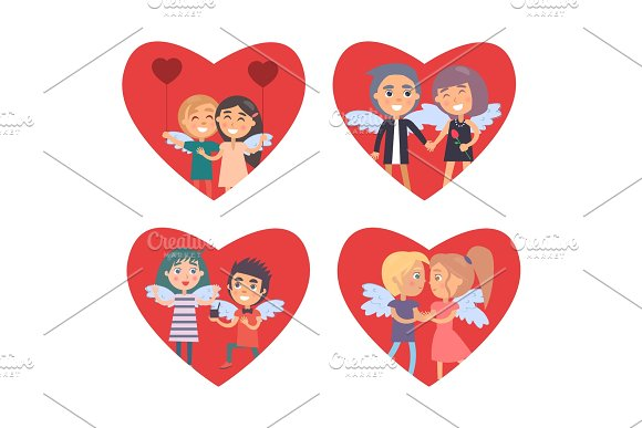 Valentines Day Card with Set of Big Red Hearts