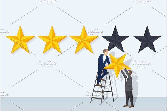 Rating Man and Big Stars, Vector Illustration