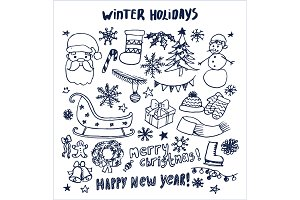 Happy New Year Winter Holidays Hand Drawn Elements