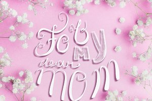 Mothers day card on pink