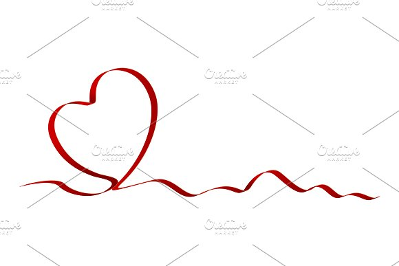Heart shape of red ribbon