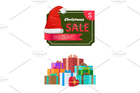 Discount Christmas Sale Promo Sticker Hat advert