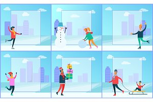 Cityscape and Wintertime Set Vector Illustration
