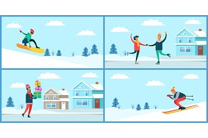Wintertime Activities Placards Set Vector Illustration