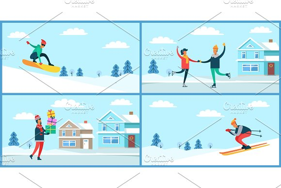 Wintertime Activities Placards Set Vector Illustration in Illustrations