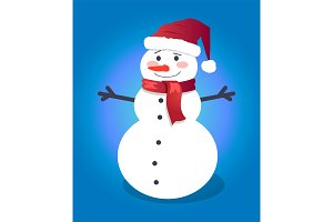 Handsome snowman in red hat with vector illustration