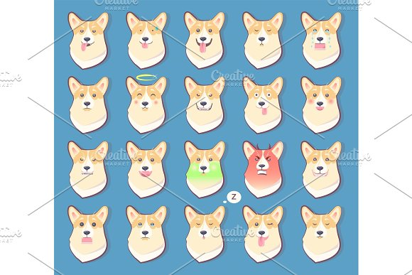 Set of Dogs Emotions, Cute Puppy Symbol Year 2018