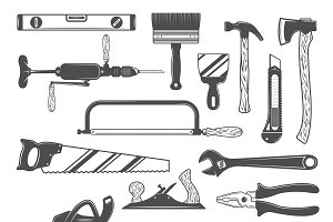 Work Tools Monochrome Set
