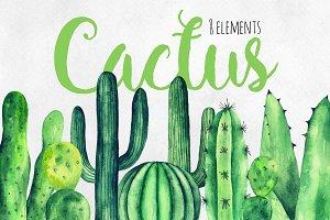 Watercolor green cactus clip art