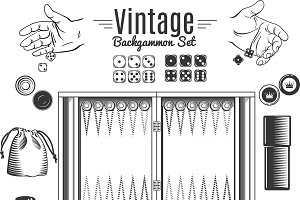 Backgammon Vintage Elements Set