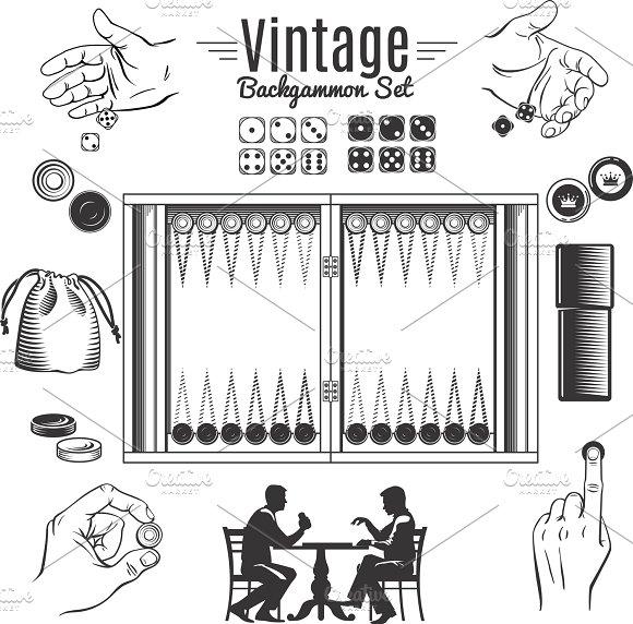 Backgammon Vintage Elements Set