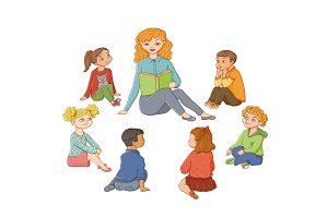 vector flat cartoon children sitting around woman
