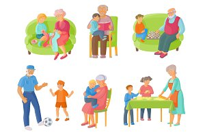 Grandparents, grandchildren spending time together