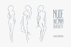 Set of various nude woman silhouette