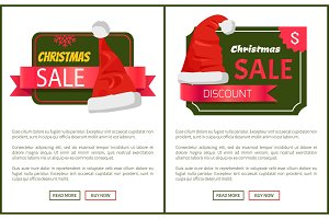 Discounts Tags Santa Claus hats Promo Labels Xmas