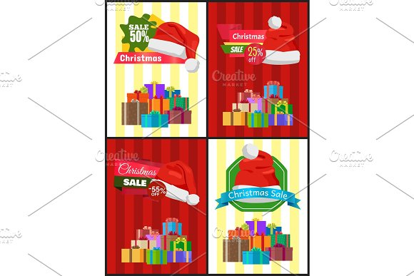 Christmas Sale Poster Wrapped Present, Promo Label