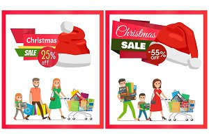 Two Christmas Sale Posters Vector Illustration