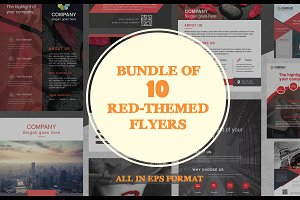 Bundle of 10 Red-Themed Flyers
