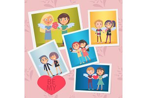 Set of Valentines Day Cards Vector Illustration