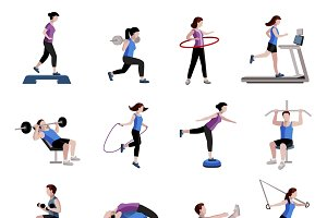 Fitness for men women flat icons