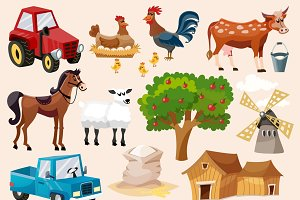 Farm decorative icon set