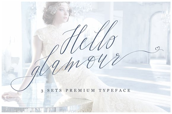 Hello Glamour font with swashes