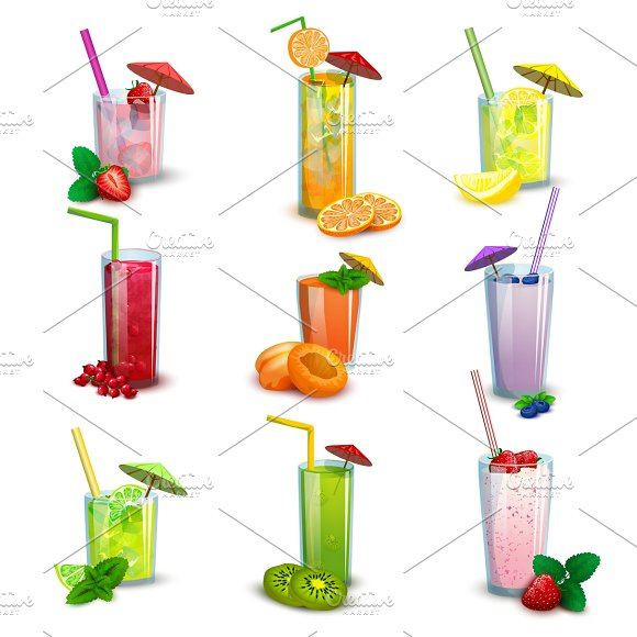 Cocktail drinks flat icons set