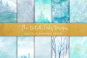 Watercolor Winter - Scrapbook Papers