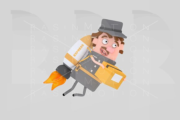 Mailman holding box flying on rocket