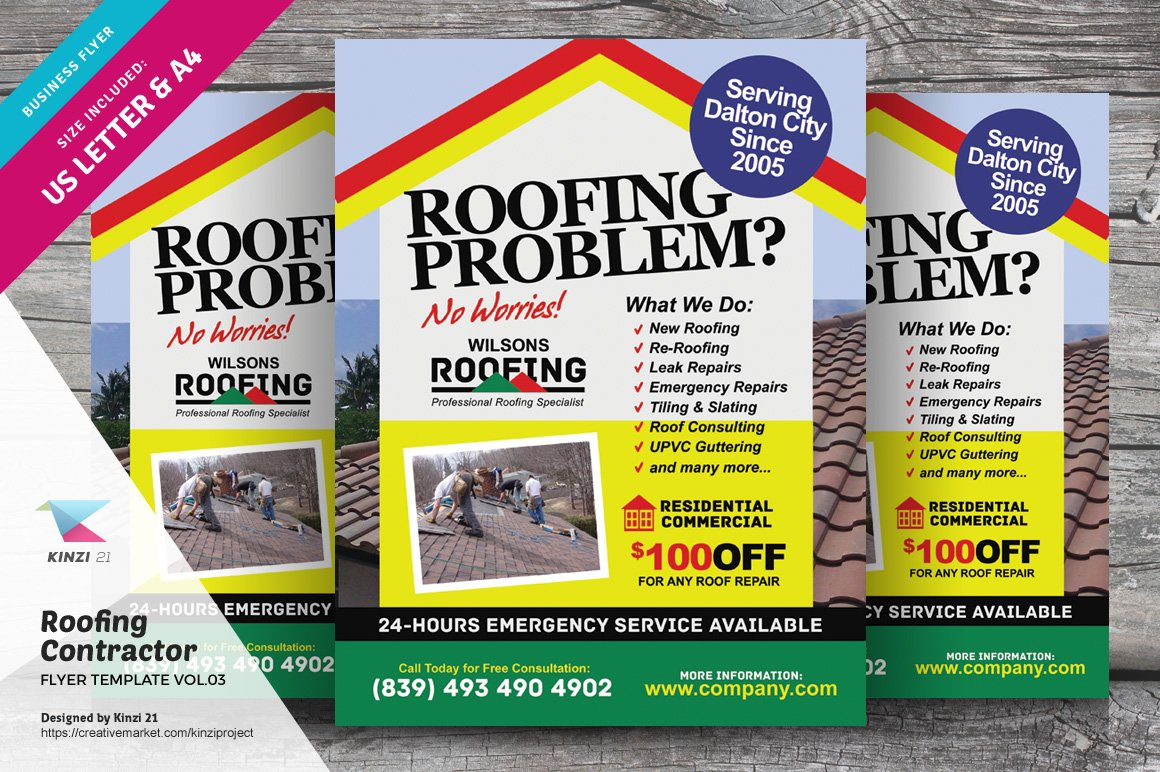 Roofing Contractor Flyer Vol 03 Flyer Templates
