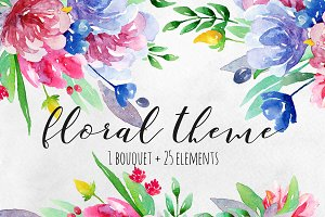 Watercolor summer flowers clip art
