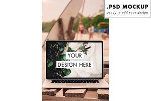 Beach laptop mockup freelance travel