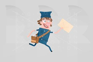 Postman running holding a letter