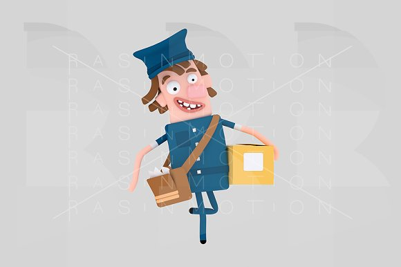 Postman Holding A Packet Box