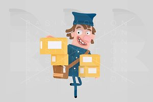 Postman holding many packet boxes