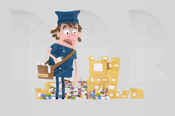 Postman Looking At Heap Of Letters A