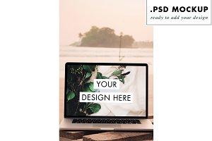 Digital nomad beach computer mock up