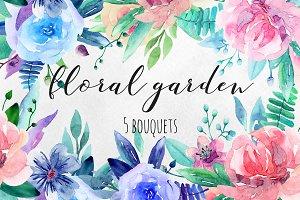Watercolor floral bouquets clip art