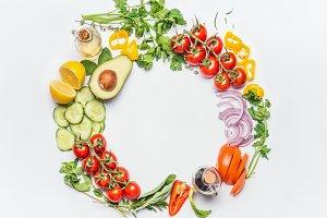 Round frame of salad vegetables