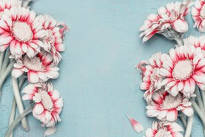 Pastel flowers on blue shabby chic