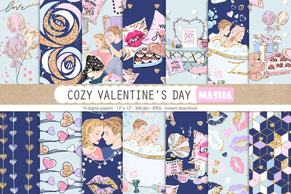 COZY VALENTINE'S DAY digital papers