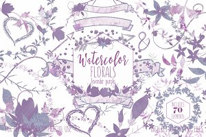 Watercolor Floral Wreaths in Purple